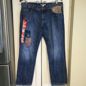 CAbi Floral Patchwork Blanket Stitch Jeans